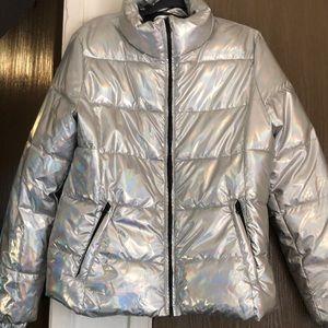 Iridescent puff coat